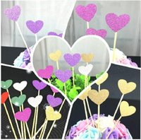 Wholesale hearts cake toppers - cake toppers glitter heart paper cards banner for Cupcake Wrapper Baking Cup birthday tea party wedding decoration baby shower