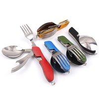 Wholesale Chopstick Spoon Fork - Hot Multifunction Outdoor Camping Picnic Tableware Stainless Steel Cutlery 4In 1Folding Fork Knife &Bottle Opener Dinnerware