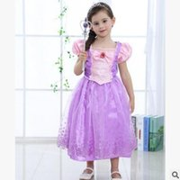 Wholesale Linen Dresses For Summer Wholesalers - Girls Dresses Kids Princess Fancy Dress Costume Party Outfit Cosplay Dress For Girl Top Quality Purple Tulle Dress Best Gifts free shipping