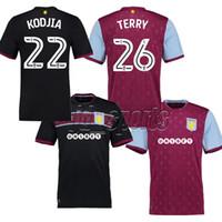 Wholesale Aston Red - 2017-18 Aston Villa Adults Futbol Camisa AVFC Terry Kodjia Soccer Jerseys Football Camisetas Shirt Kit Maillot EFL