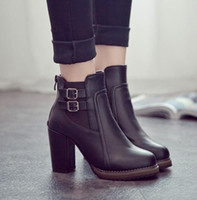 Wholesale ankle bootie shoes - Wholesale- Fashion Classic Sexy Women Shoes Thick High Heel Double Buckle Knight Ankle Boots Elastic Zip Bootie Autumn Winter Ladies Shoes