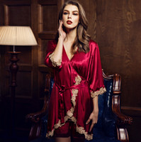 Wholesale Sleep Gown Robe - 2017 Spring And Summer New Silk Three-piece Sleep Gown Ms. sexy Sling Europe and the United States Home Nightgowns