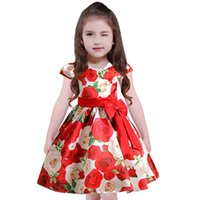 Wholesale Rose Belt Dress Girl - Girls dress autumn new kids full rose flowers printed princess dress children Bows belt ress summer big girls pageant dresses R0987