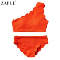 Wholesale One Shoulder Bathing Suits - ZAFUL New Style One Shoulder Design Scalloped Bikinis Women Wave Edge Swimwear Swimsuit Biquinis Bathing Suits maillot de bain