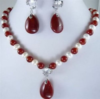 Wholesale Red Jade Necklace Bracelet - White Pearl And Red Jade Necklace Earring Set