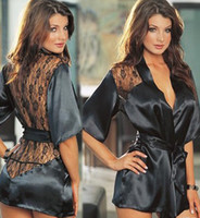Wholesale night robes sexy for sale - Women s Sleepwear new Sexy Lingerie Satin Lace Black Kimono Intimate Sleepwear Robe Night Gown lingerie babydoll women lingerie