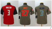 Wholesale Orange Hunting Shirts - Kids #27 Kareem Hunt 3 Russell Wilson 3 Jameis Winston Salute to service American College Football Shirts Stitched Embroidery Sports Jerseys