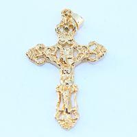 filigraner stein großhandel-Trendy 24k Gelbgold gefüllt Religion Mens Solid kein Stein Kreuz filigrane Anhänger Halskette Kette Schmuck 6G