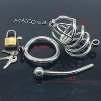 Wholesale Bdsm Cocks - Stainless Steel Small Male Chastity device Adult Cock Cage With Curve Cock Ring Urethral Catheter BDSM Sex Toys Chastity penis plug MKC063