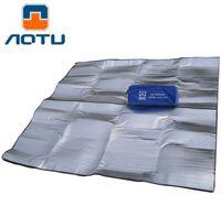 Wholesale Double Foil - Wholesale- AOTU Outdoor camping mat air mattress picnic blanket picnic mat pads Aluminum Foil mats Double Side Camping Dampproof beach mat
