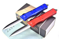 Wholesale Blade Tech Knives - High End Micro Tech Troodon AUTO Tactical knife D2 60HRC Satin Blade 6061-T6 Aluminum Handle EDC Pocket knife Gift knives with Nylon bag