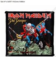 """Wholesale Woven Patches Wholesale - 4"""" Iron Maiden The Trooper Rock Music Band Heavy Metal Music Band Woven Iron On Patch TRANSFER MOTIF APPLIQUE Rock Punk Badge"""