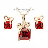 Wholesale Bowknot Rhinestone Earrings - Rose Gold Color Red Square Austrian Crystal Lovely Bowknot Style Woman Jewelry Set Earrings Necklace Wholesale