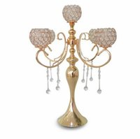 Wholesale Crystal Decorations Roses - elegant new tall 5 arms wedding rose gold crystal candelabra for wedding decoration centerpieces