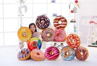 Wholesale Plush Hamburger - 100PCS Christmas Gift doughnut Hamburger Cushion Emoji Decorative Pillows Cute plush toys doughnut Cushion for girl B0734