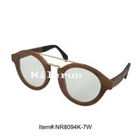 Wholesale Walnut Rounds - fashion metal bridge round walnut wood frame eyeglasses with clear plain lens and opening cut for changing lens