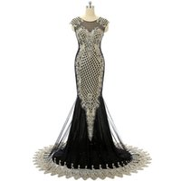 Wholesale Dress Embroider Strap - Cap Sleeves Black mermaid prom dress Long Sheer Front And Back Embroidered Sexy formal evening gowns Crystal Beaded prom dress real picture