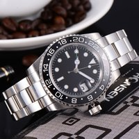 Wholesale Mechanical Time - 40mm Luxury Sapphire glass Two time zone GMT Black dial automatic stainless Steel strap ceramic bezel mechanical watch