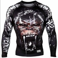 Wholesale Short Gorilla Neck - L XL MMA fight tops man t-shirt Rashguard Shapers GORILLA RASHGUARD - LONG SLEEVES F051 black color Free shipping
