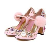 bohren blume großhandel-Marke Luxus spitzen klobigen Fersen Schnalle strao Frauen Prinzessin Schuhe Blume Bohrer Strass Pumpe süße Runde Zehe Frühling Herbst