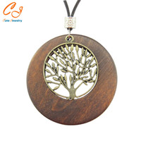 Wholesale Wooden Tree Necklace - Wholesale-Alloy Life Tree Wooden Pendant Necklace Wood Fashion Necklace US Warehouse Stock