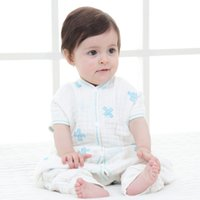 Wholesale Gauze Muslin Cloth - Muslin cotton cloths baby split cotton 6 layers gauze rompers separate legs newborn soft breathable pajamas plus minus