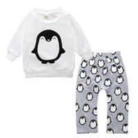 Wholesale Penguin Suits - Baby boy clothing sets 2 pcs girl suit clothing shirt cotton Tops + Trousers Penguin baby printed clothing sets