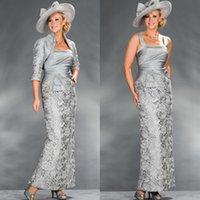 graue taftjacke großhandel-Neue Silber Grau Spitze Mantel Mutter Kleider Taft mit 3/4 langen Ärmeln Jacke Knöchellangen 2017 Frauen Party Kleider