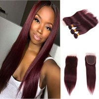 Wholesale Skin Closures - Brazilian lace frontal with bundles burgundy long poplar human hair closure pre plucked natrural hairline free par for afro dark skin girl