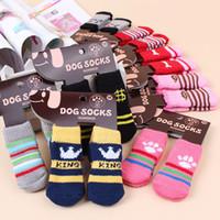 Wholesale Nonslip Sock Shoes - 4pcs lot Fashion Print Pet Dog Socks Anti Slip Soft Cotton Puppy Shoes Indoor Skidproof Nonslip Winter Warm Sock for Cats S M L