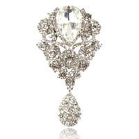 broches para convites de casamento venda por atacado-3.85 Polegada Rhinestone Diamante Cristal Gota Grande Nupcial Broche de Presente Do Partido Do Partido Pinos De Casamento Convite Broches