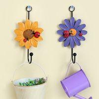 Wholesale Clothing Cabinets - 4pcs Flower Shaped Clothes Hangers New Creative Art Decor Fashion House Mini Gathering Easy Hanger Cabinet Organizer Kitchen Decor