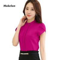 Wholesale Office Blouses Collars - Fashion Women Office Formal Blouse Shirts Office Womens Summer Slim Ruffles Collar Blouses Elegant Ladies Red Tops Bastic Blusas