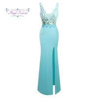 Angelo-moda Collo a V femminile con paillettes e spacco di pietre preziose Prom Dress 327