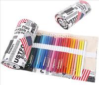 Wholesale American Pencil Cases - Wholesale- The American flag 36 48 72 Canvas Pen Roll Up Bag Curtain School Pencil Case Escolar Estuche Box Stationery Estojo PortableGifts