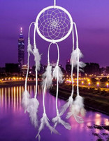 Wholesale Hanging Dream Catcher - New 50cm Handmade Indian Dream Catcher Net with Feathers Wind Chimes Wall Hanging Dreamcatcher Craft Gift