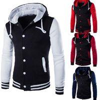 Wholesale Mens Stylish Long Jackets - New Hooded Baseball Jacket Men 2017 Fashion Design Black Mens Slim Fit Varsity Jacket Brand Stylish College Jacekt Veste Homme