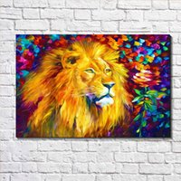 Wholesale Oil Painting Colours - GRAFFITI PAINTING STREET ART Dazzle Colour Lion Oil Painting Print on Canvas Wall Art Picture Decor Canvas Poster Painting for Living Room