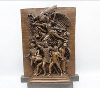"Wholesale Bronze Warrior Statues - 18""Western Art Sculpture Bronze Marble Angell Warrior Victory Statue"