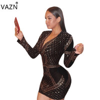 vendaje lleno al por mayor-VAZN 2018 de alta calidad adelgaza el vestido del vendaje de la manera temperamento Mini vestido de la manga del V-cuello atractivo Bodycon Dress CM120 q171118