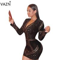 bandaj dolu toptan satış-VAZN 2018 Yüksek Kalite Ince Ilıman Moda Bandaj Elbise Tam Kollu Mini Elbise V Yaka Seksi Bodycon Elbise CM120 q171118