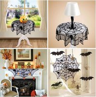 Wholesale Wholesale Lace Round Tablecloths - 40inch Round Halloween Tablecloth Black Spider Web Lace Mantle for Halloween Party Decoraiton Background Decoration