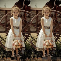 Wholesale Cheap Flower Printed Wedding Dresses - Camo Flower Girl Dresses Jewel Neck Zipper Back Tea Length White A Line Custom Made Cheap 2017 Camouflage Wedding Guest Dress