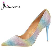 Wholesale Shine Wedding Party High Heels - Women shoes Fashion high heel with shallow mouth sweet pointed shining color matching color gradient rainbow shoes Stiletto
