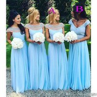 Wholesale Short White Lace Dress Vneck - 2017 Light Sky Blue Long Bridesmaid Dresses Scoop VNeck Beads Pearls Chiffon Maid Of Honor Wedding Guest Dress Cheap Fashion Bridesmaid Gown