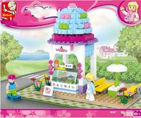 Wholesale Small Luban - Genuine happy little Luban girl toy ice cream M38-B0525 puzzle blocks of small particles