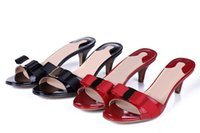 Wholesale Slippers Ladies High - SMO03 Summer Fashion Patent Leather Sandals Open-toe High Heel Slippers Casual Loafers Slippers Lady Women Shoes Sz 35-41