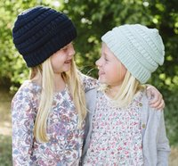 Wholesale New Fashion Hat For Kids - 2017 new style kids winter keep warm cc beanie Labeling hats Wool knit skull designer hat outdoor sports caps for baby children kids fashion