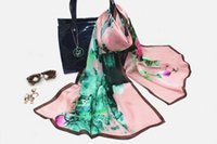 Wholesale Scarves For Painting - 180X70CM Oil Painting Lotus Printing satin silk scarf mulberry silk scarves for fashion women