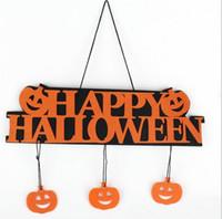 Wholesale Happy Window - Halloween Decoration HAPPY HALLOWEEN Hanging Hang Tag Window Decoration Pumpkin Hanging Strips